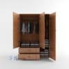 Chi tiết mặt trong tủ nhựa đài loan 3 cánh 2 ngăn kéo SHplastic TL05
