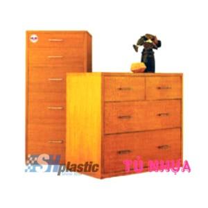 Mẫu tủ nhựa Trẻ Em 3 tầng 4 ngăn giả gỗ / SHplastic TN33