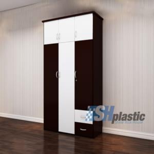 Tủ nhựa người lớn kịch trần 3 cánh mở Nâu Cafe / SHplastic TL07