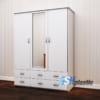 Tủ nhựa người lớn 3 cánh lửng kèm gương màu trắng sữa SHplastic TL08