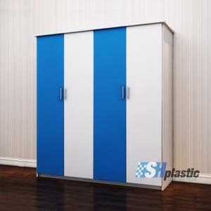 Tủ nhựa người lớn full 4 cánh mở Xanh Trắng / SHplastic TL10
