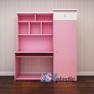 Mẫu bàn học nhựa kết hợp tủ giá sách SHplastic BH03
