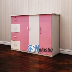 Mẫu tủ nhựa Trẻ Em 3 cánh 4 ngăn Trắng Hồng / SHplastic TN18