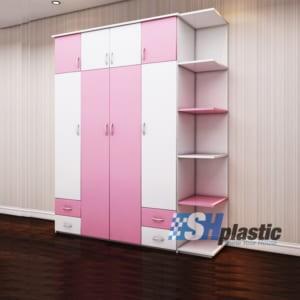 Tủ nhựa người lớn đa năng 4 cánh 4 ngăn liền kệ / SHplastic TL23