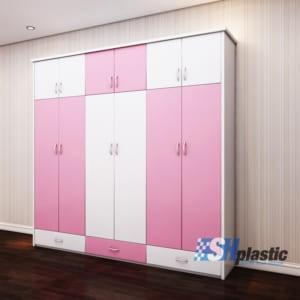 Tủ nhựa quần áo người lớn đa năng 6 cánh 3 ngăn kéo SHplastic TL26