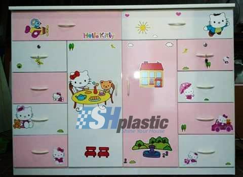 Mẫu tủ nhựa Trẻ Em 2 cánh 10 ngăn kéo / SHplastic TN02