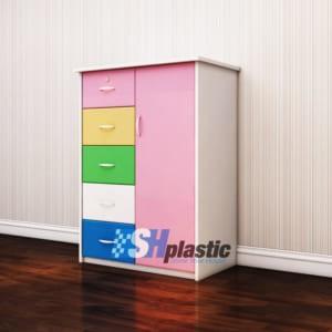 Mẫu tủ nhựa Trẻ Em 1 cánh 5 ngăn kéo / SHplastic TN15