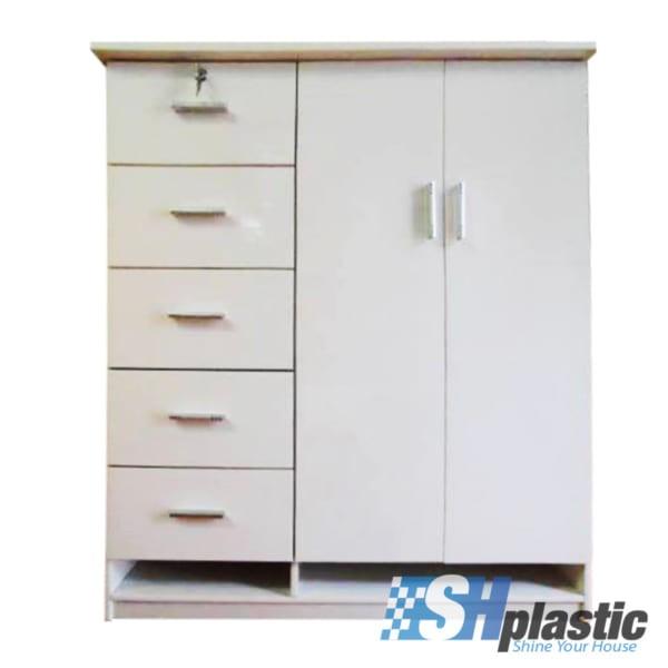 Mẫu tủ nhựa Trẻ Em 2 cánh 5 ngăn, 2 khe kệ / SHplastic TN09