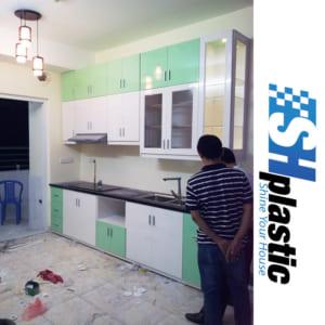 Tủ bếp nhựa Đài Loan chữ I trắng phối xanh / SHPlastic TB13