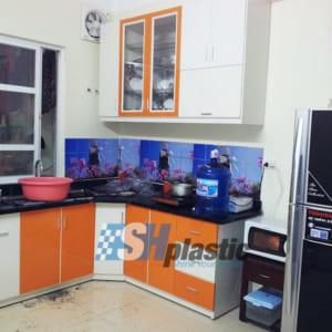 Tủ bếp nhựa Đài Loan chữ L phối màu / SHPlastic TB17