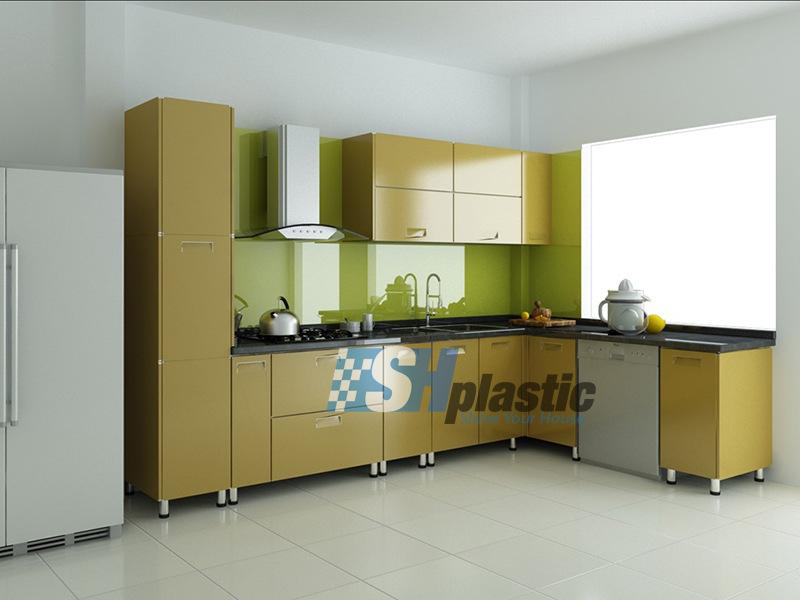 Mẫu tủ bếp nhựa Đài Loan hình chữ L SHplastic