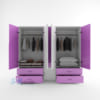 Mẫu tủ nhựa đài loan 2 cánh 1 buồng, 2 ngăn kéo màu tím - SHplastic