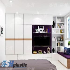 Tủ nhựa người lớn đa năng 3 cánh liền kệ tivi, giá sách / SHplastic TL50