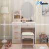 Mẫu bàn trang điểm nhựa đài loan SHplastic gương ô van phong cách tân cổ điền thanh lịch
