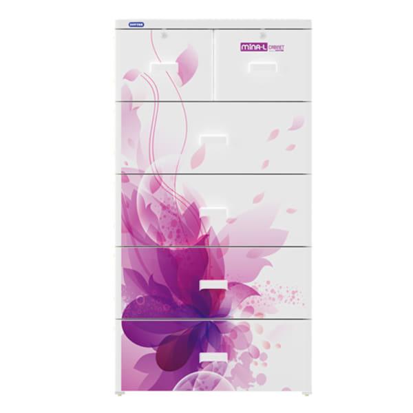 Tủ nhựa Duy Tân Mina L họa tiết hoa tím